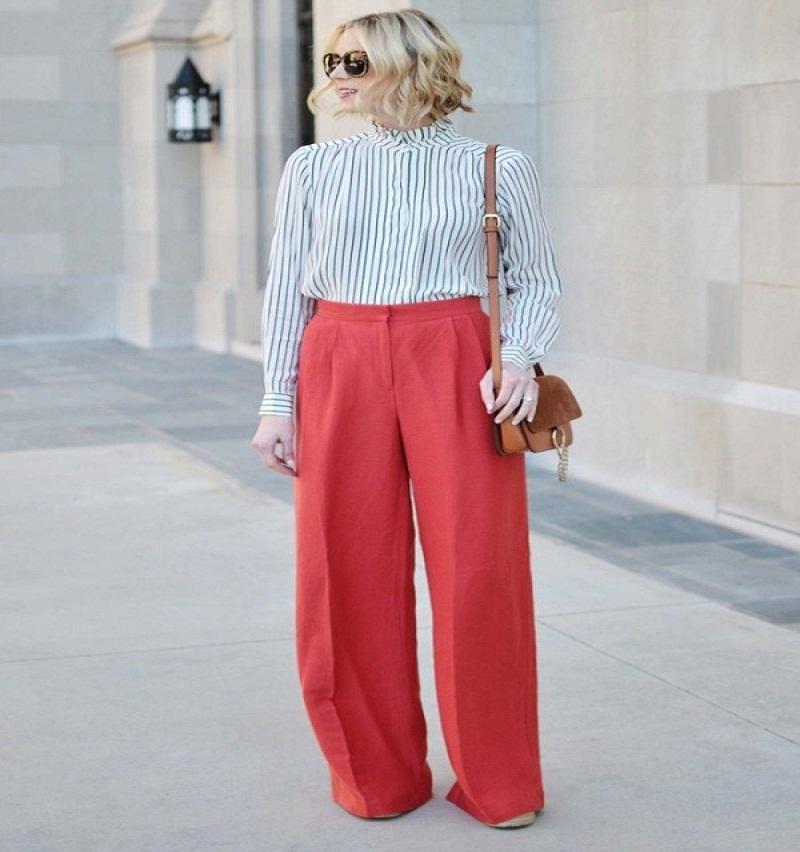 top women red pants
