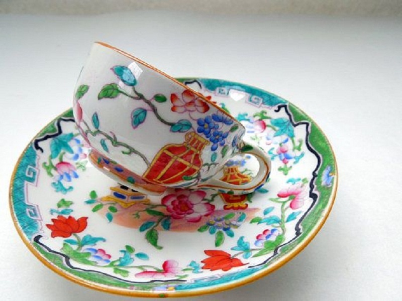 Cup decorated with enamel